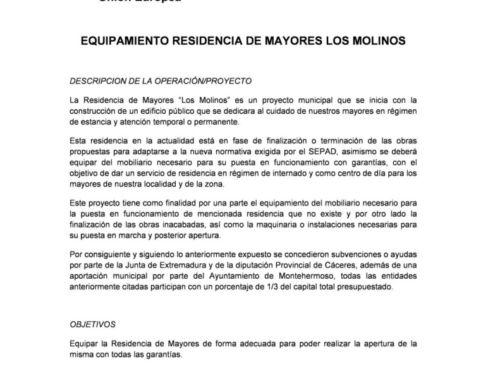SUBVENCIÓN EQUIPAMIENTO RESIDENCIA LOS MOLINOS