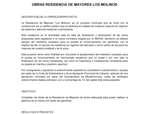 SUBVENCIÓN OBRAS RESIDENCIA LOS MOLINOS